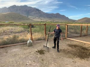 Jamie collecting manure